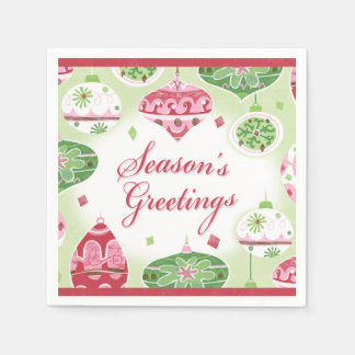 Retro Red and Green Season's Greetings Pattern Paper Napkin