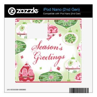 Retro Red and Green Season's Greetings Pattern Skin For iPod Nano