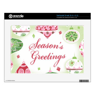 Retro Red and Green Season's Greetings Pattern Decals For Netbooks