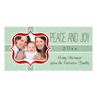 Retro Red and Mint Peace and Joy Holiday Photo Card