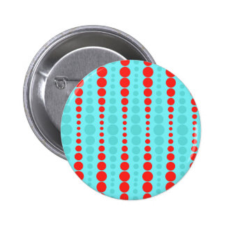 Retro Red and Turquoise Dots Button