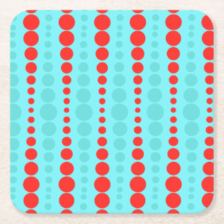 Retro Red and Turquoise Dots Coasters