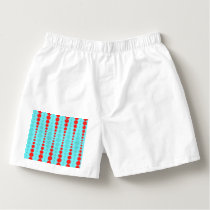 Retro Red and Turquoise Dots Cotton Boxers