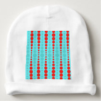 Retro Red and Turquoise Dots Infant Hat