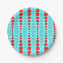 Retro Red and Turquoise Dots Paper Plate