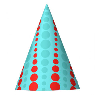 Retro Red and Turquoise Dots Party Hat