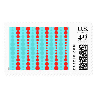 Retro Red and Turquoise Dots Postage Stamps