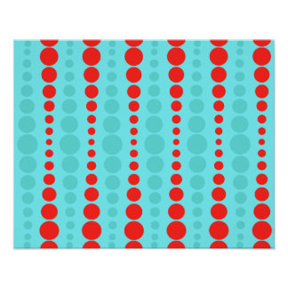 Retro Red and Turquoise Dots Poster