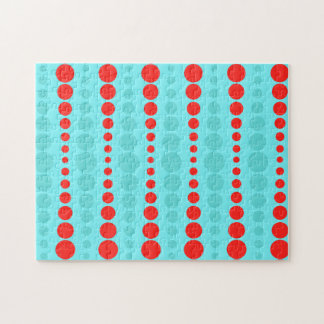 Retro Red and Turquoise Dots Puzzle