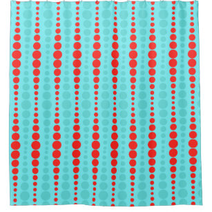 red and turquoise shower curtain. Retro Red And Turquoise Dots Shower Curtain Harlequin Curtains  Zazzle