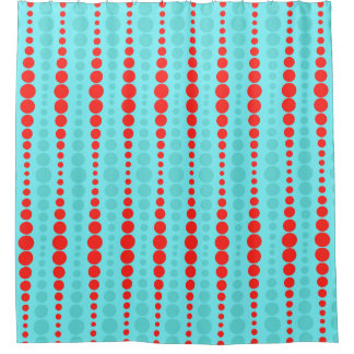 Retro Red and Turquoise Dots Shower Curtain