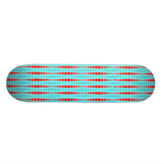 Retro Red and Turquoise Dots Skateboard