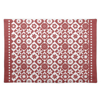 Retro Red and White American Floral Gingham Checks Placemat
