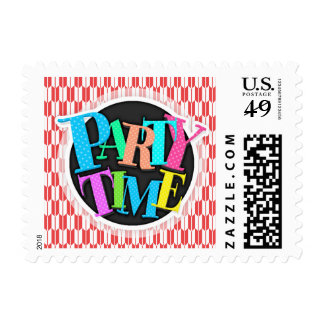 Retro Red and White Arrow Tails Pattern Postage Stamp