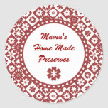 Retro Red and White Canning Jar Labels Round Stickers