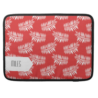 Retro Red and White Leaves Seamless Pattern Sleeve For MacBook Pro