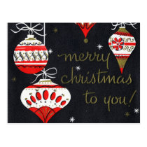 Retro Red and White Ornaments on Black Postcard