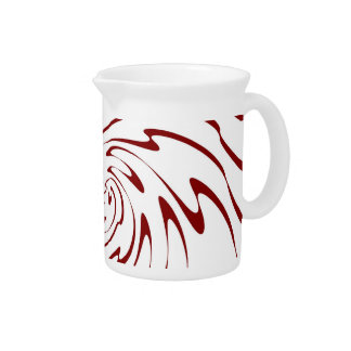Retro Red and White Waves Abstract Art 2 Beverage Pitchers
