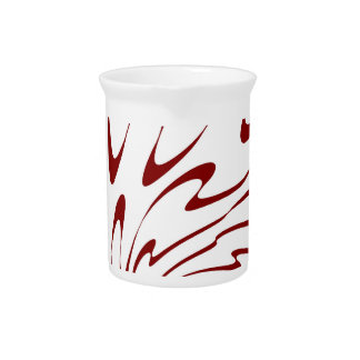 Retro Red and White Waves Abstract Art Pitchers