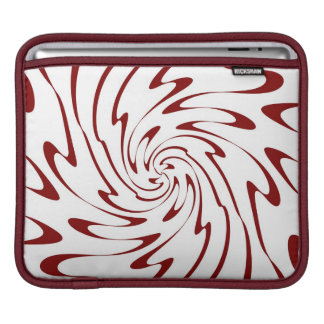Retro Red and White Waves Abstract Art Sleeve For iPads