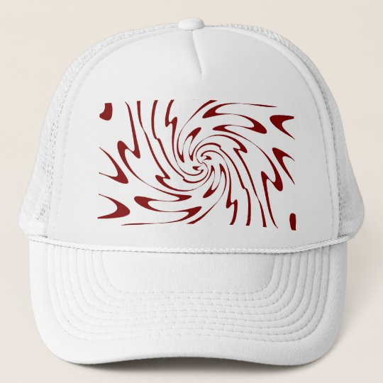 Retro Red and White Waves Abstract Art Trucker Hat