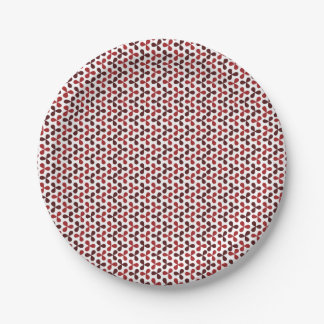 Retro red and wine  propeller pattern paper plate