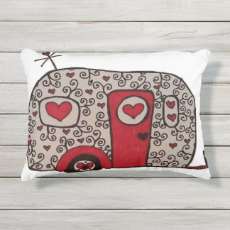 Retro Red Black and White Glamper Outdoor Pillow
