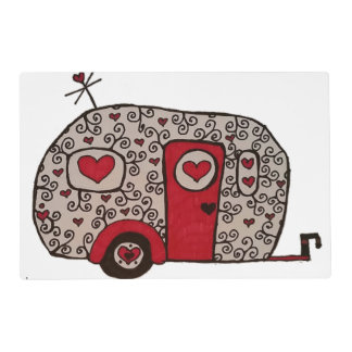 Retro Red Black and White Glamper Placemat