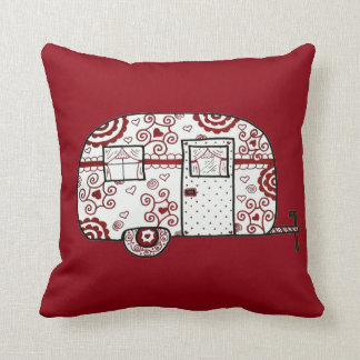 Retro Red Black and White Glamper Throw Pillow
