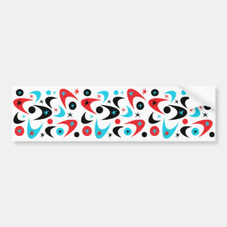 Retro Red Black & Aqua Starburst Boomerang Bumper Sticker