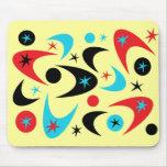 Retro Red Black & Aqua Starburst Boomerang Mouse Pad