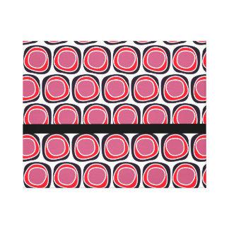 Retro red black polka dots pattern canvas print