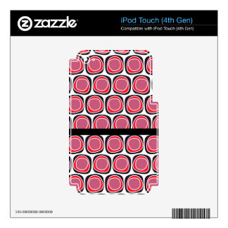 Retro red black polka dots pattern decals for iPod touch 4G