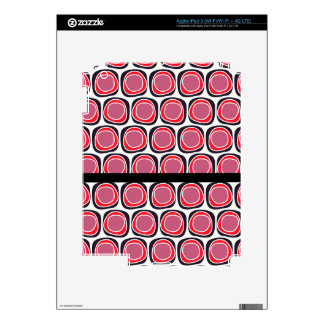 Retro red black polka dots pattern skins for iPad 3