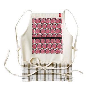 Retro red black polka dots pattern zazzle HEART apron