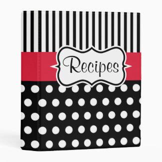 Retro Red Black Small Recipe Organizer Binder