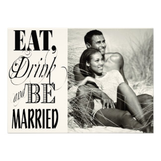 Retro Red-Black-White Eat Drink Married Save Date Announcement