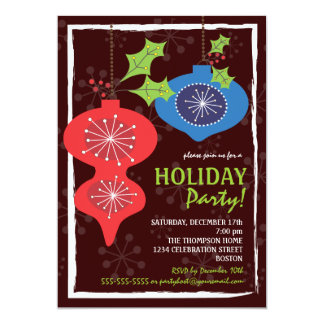 Retro Red & Blue Christmas Ornaments Holiday Party Card