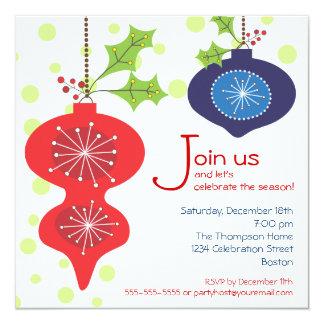 Retro Red & Blue Ornament Holiday Party Invitation