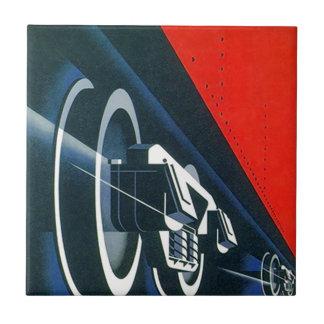 """Retro red blues Deco Loco Trax Ceramic Tiles 4.25"""""""