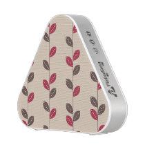 Retro Red & Brown Leaf Pattern Bluetooth Speaker