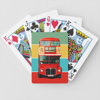 Retro Red Bus from London Bicycle Playing Cards