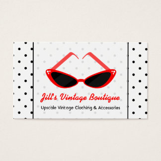 Retro Red Cat Eye Sunglasses & Black Polka Dots Business Card