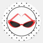Retro Red Cat Eye Sunglasses & Black Polka Dots Classic Round Sticker