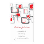 Retro Red Cherry Squares Groovy Funky Profile Card Business Card Templates
