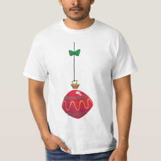 Retro Red Christmas Ornament With a Green Bow T-Shirt