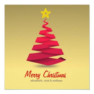 Retro red christmas tree star greeting card