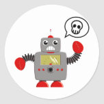 Retro Red Claw Robot Classic Round Sticker