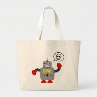 Retro Red Claw Robot Large Tote Bag