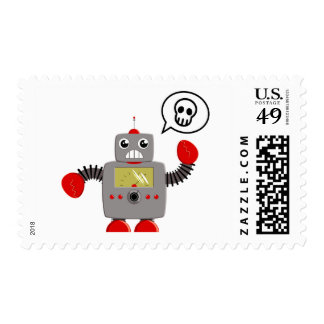 Retro Red Claw Robot Postage Stamps